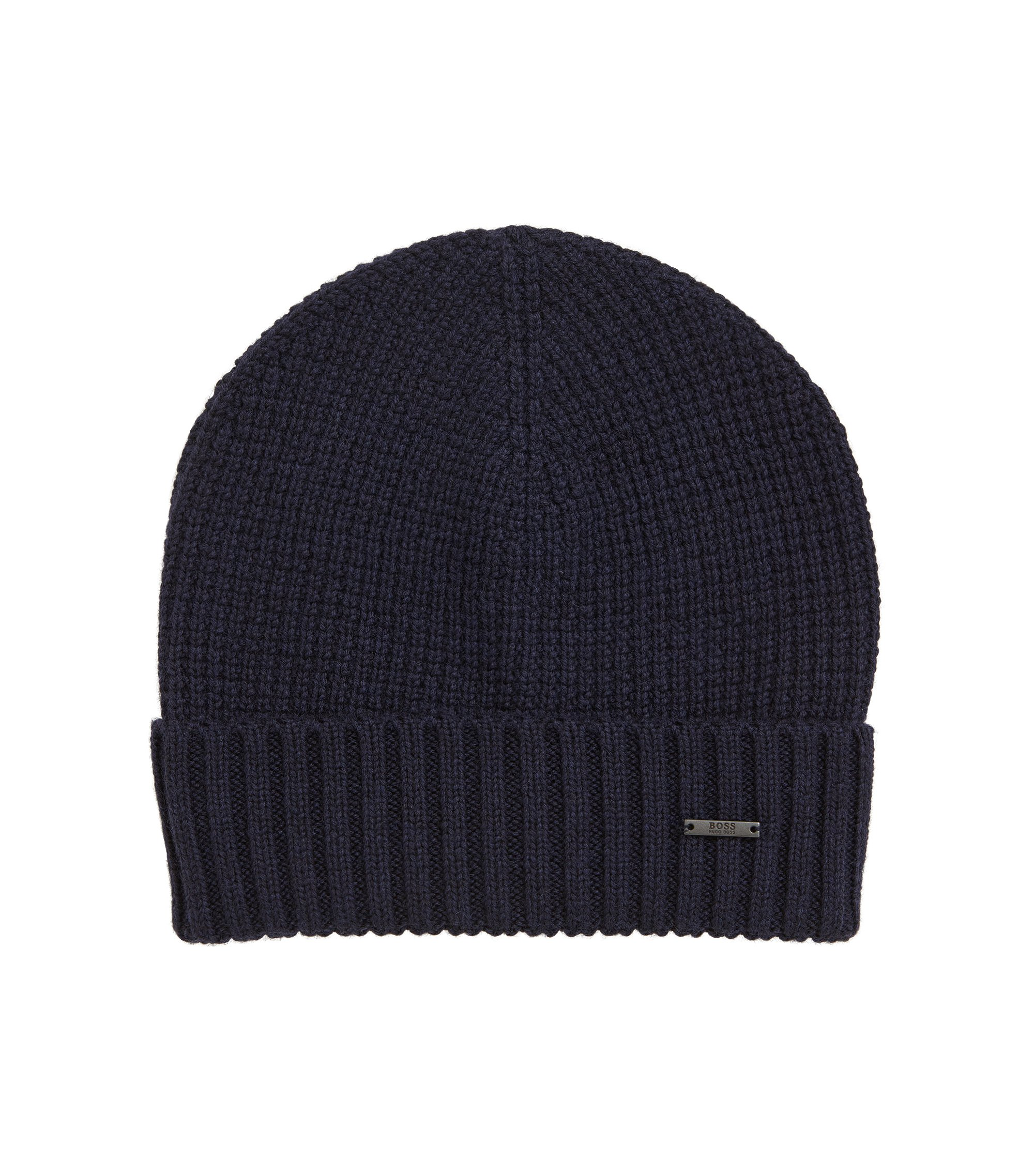 Waffle-knit beanie hat in virgin wool, Dark Blue