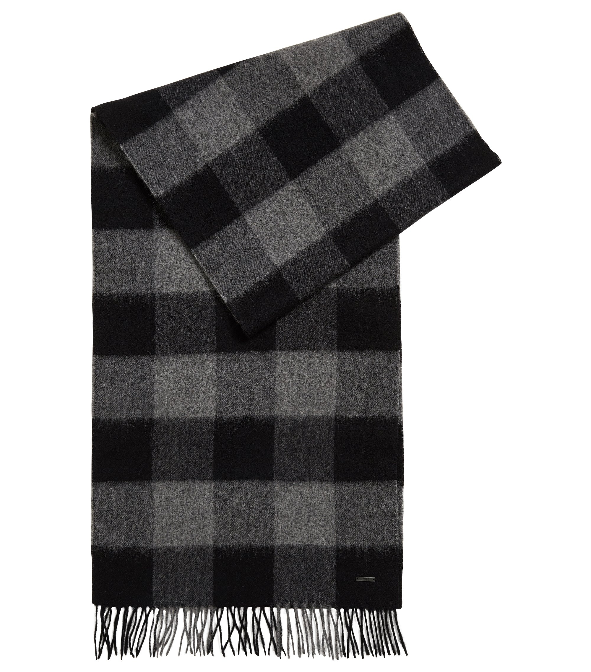 Checked scarf in fine virgin wool, Grey