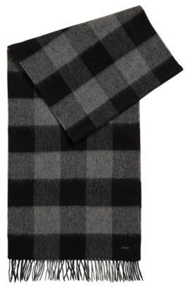 Écharpe en fine laine vierge à carreaux, Gris