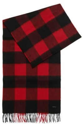Checked scarf in fine virgin wool, Red