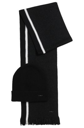 Hat and scarf gift set in two-tone virgin wool, Black