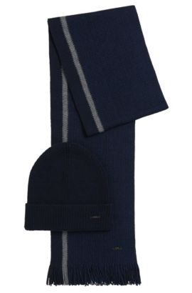 Hat and scarf gift set in two-tone virgin wool, Dark Blue