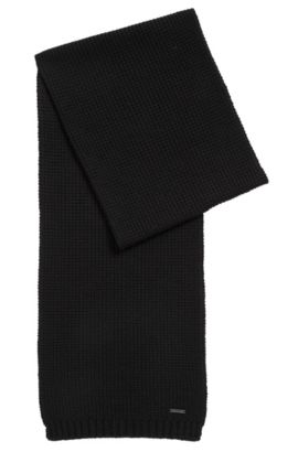 Waffle-knit scarf in virgin wool, Black