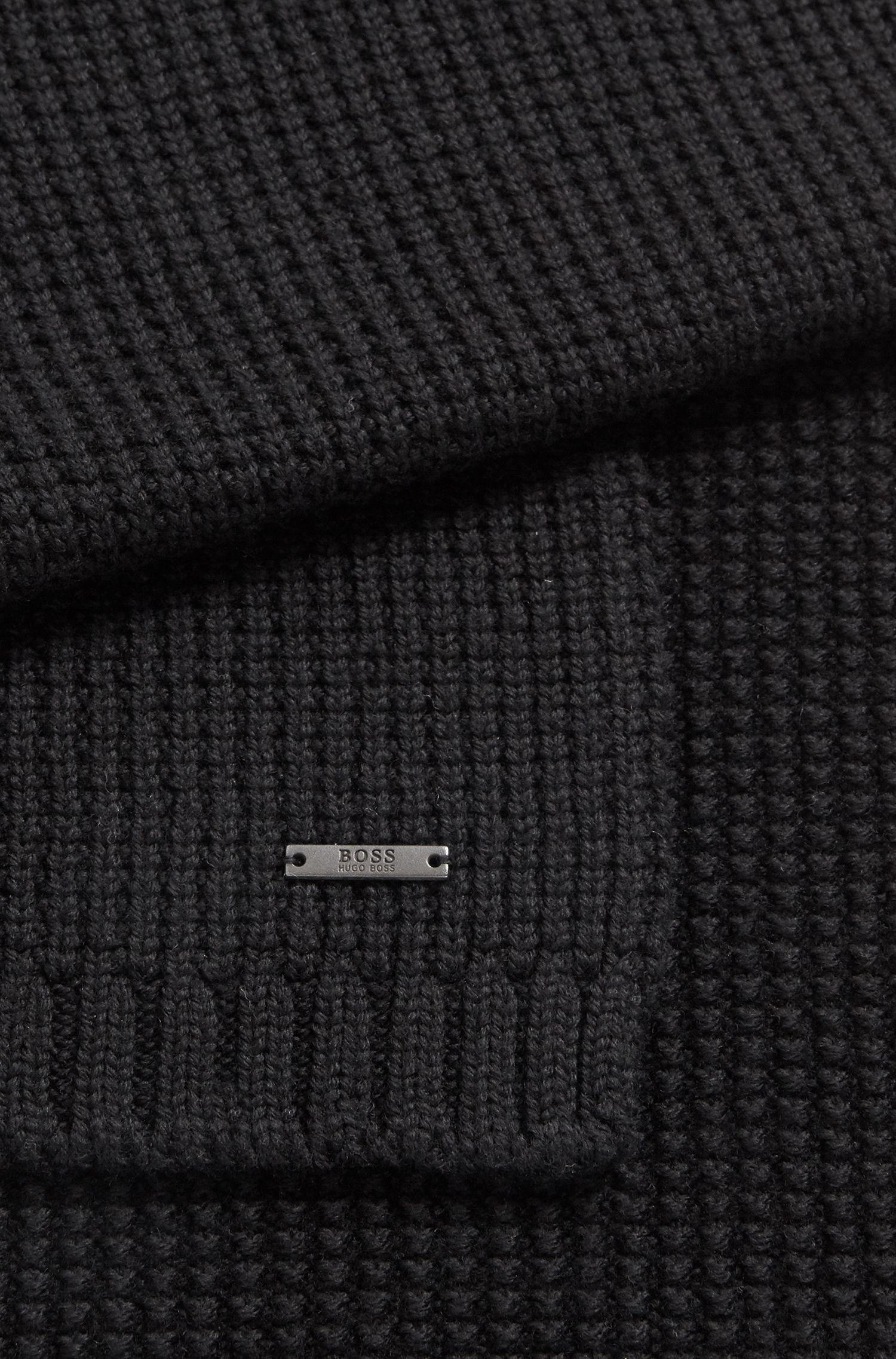 Écharpe en maille gaufrée de laine vierge