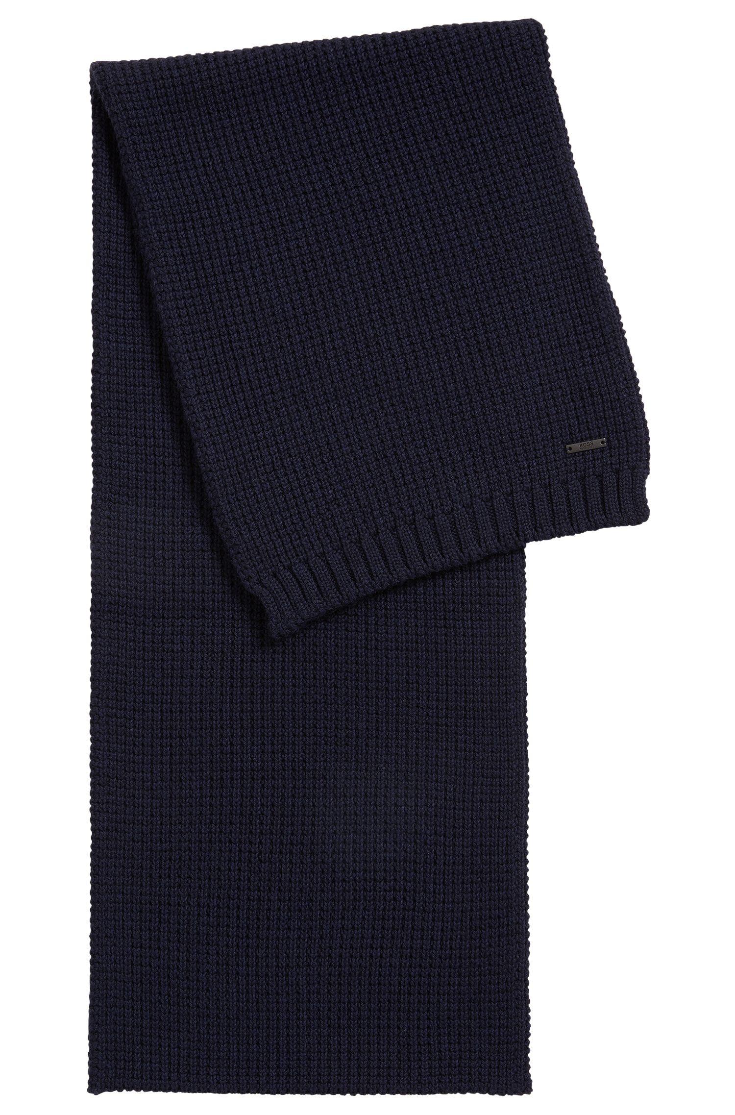 Sciarpa in maglia a nido d'ape in lana vergine, Blu scuro