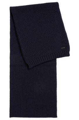 Bufanda de punto de rejilla en lana virgen, Azul oscuro
