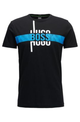 Camiseta regular fit con logo en algodón, Negro