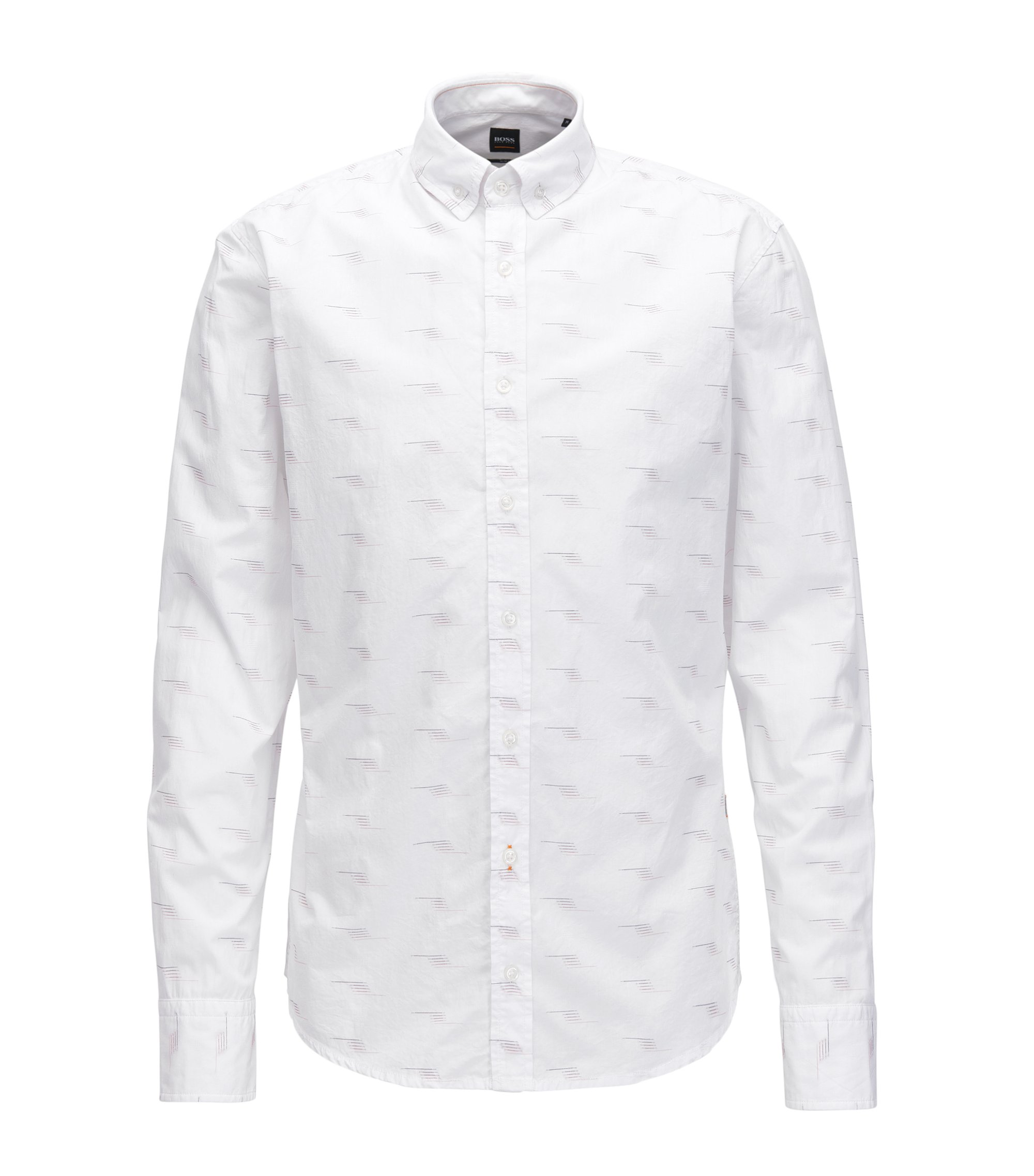 Slim-fit cotton dobby shirt with fil coupé detail, White