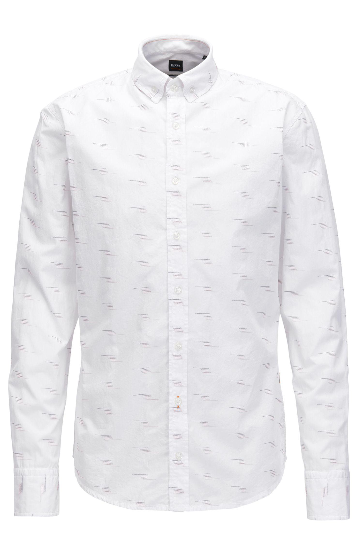 Slim-Fit Hemd aus Baumwolle mit Fil-Coupé-Details, Weiß