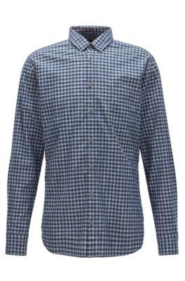 Vichy-check cotton shirt in a slim fit, Dark Blue