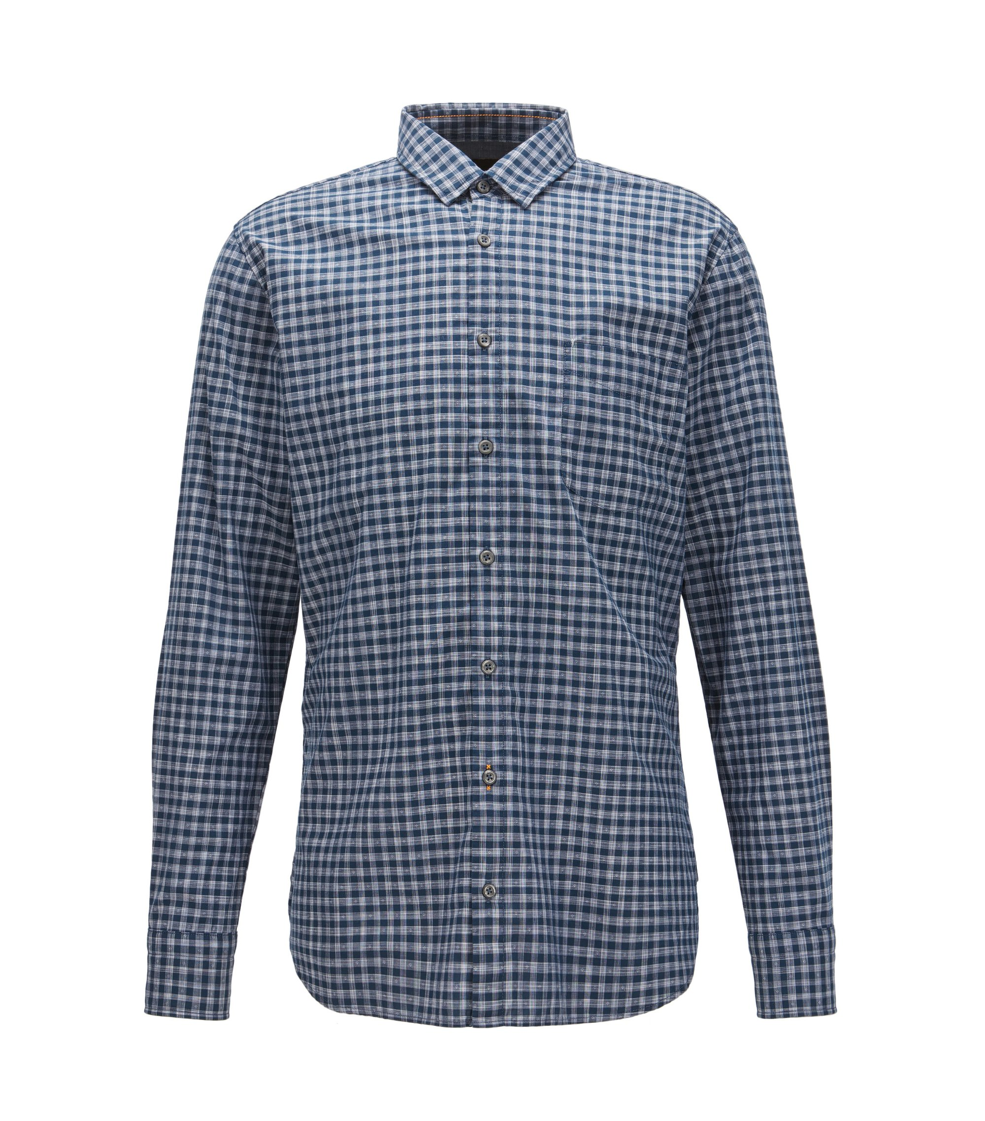 Vichy-check cotton shirt in a slim fit, Dark Blue