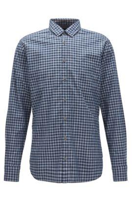 Slim-fit overhemd van katoen met vichyruiten, Donkerblauw