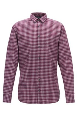 Vichy-check cotton shirt in a slim fit, Dark Red
