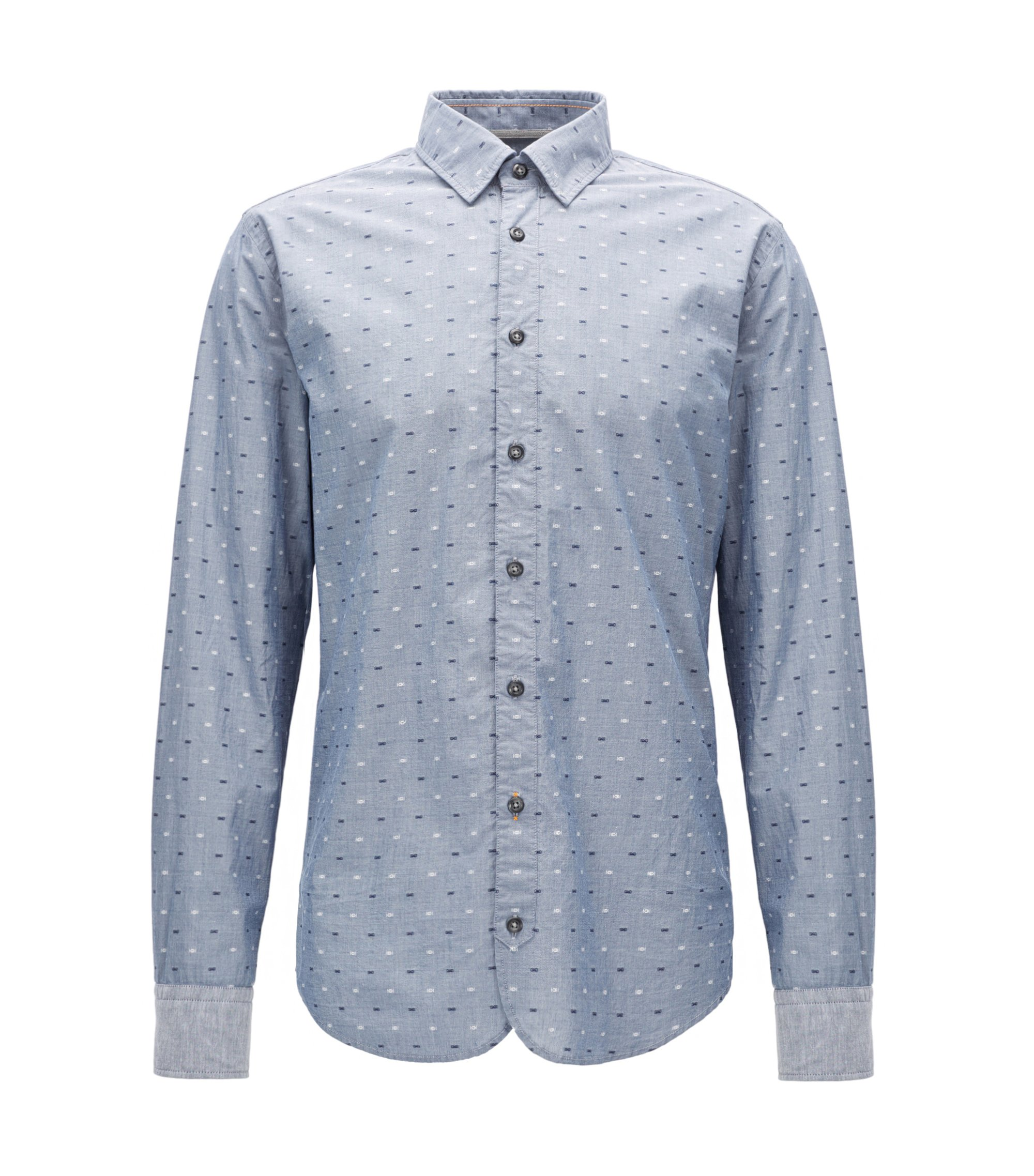 Slim-fit cotton shirt with fil coupé detail, Dark Blue