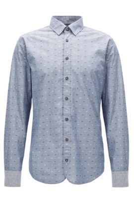 Slim-Fit Hemd aus Baumwolle mit Fil-coupé-Details, Dunkelblau