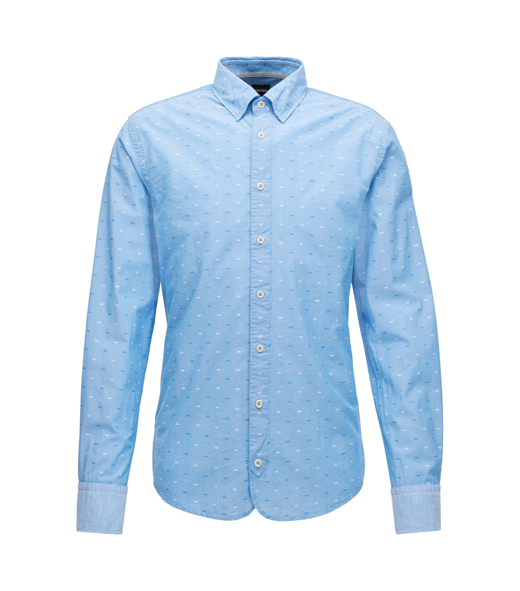 Slim-fit cotton shirt with fil coupé detail, Light Blue