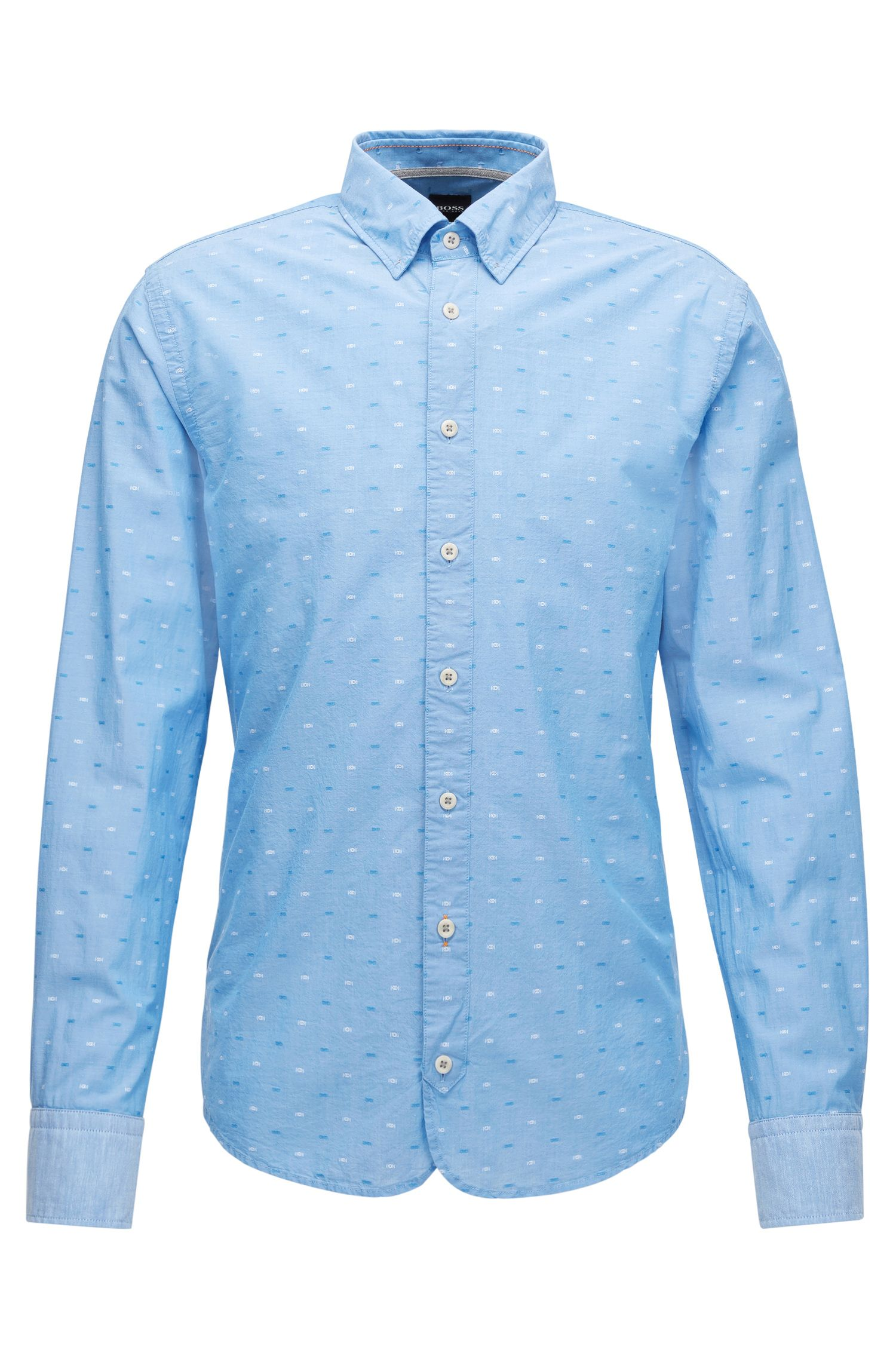 Slim-fit cotton shirt with fil coupé detail