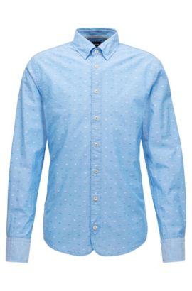 Chemise Slim Fit en coton à détails en fil coupé, Bleu foncé