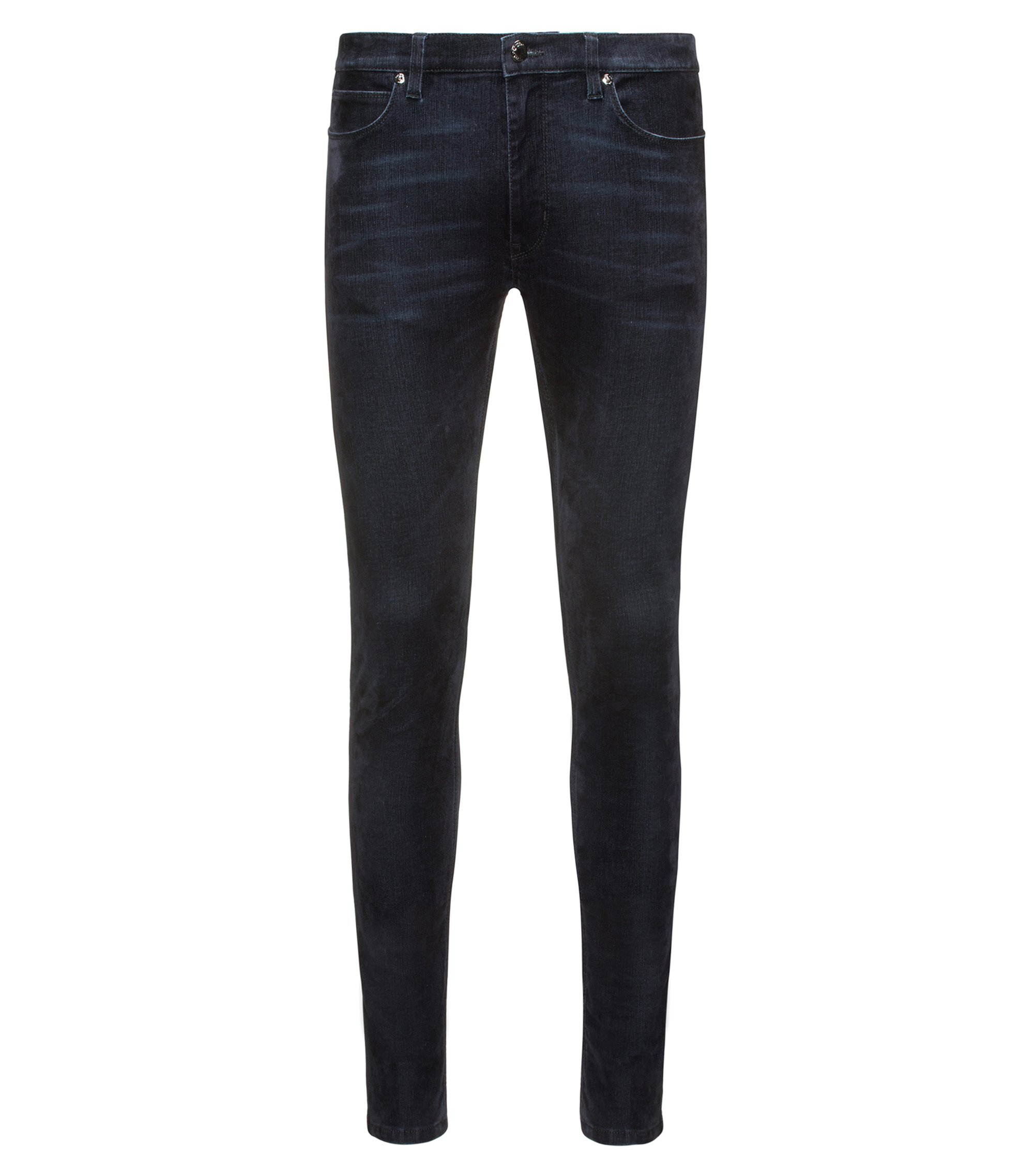 Jeans skinny fit in denim super elasticizzato blu con stampa flock, Blu scuro