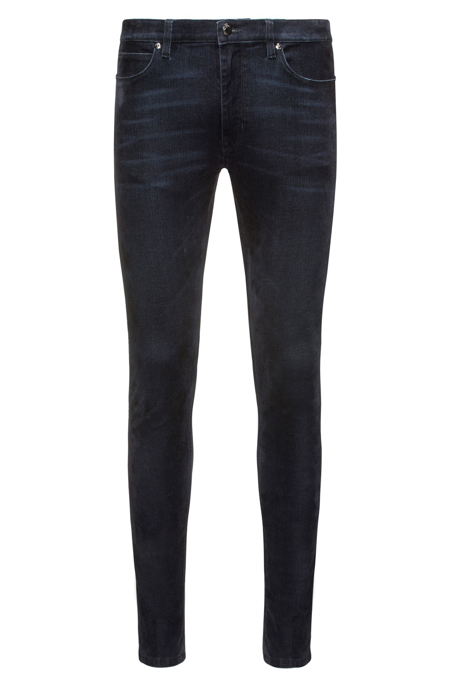 Jeans skinny fit in denim super elasticizzato blu con stampa flock