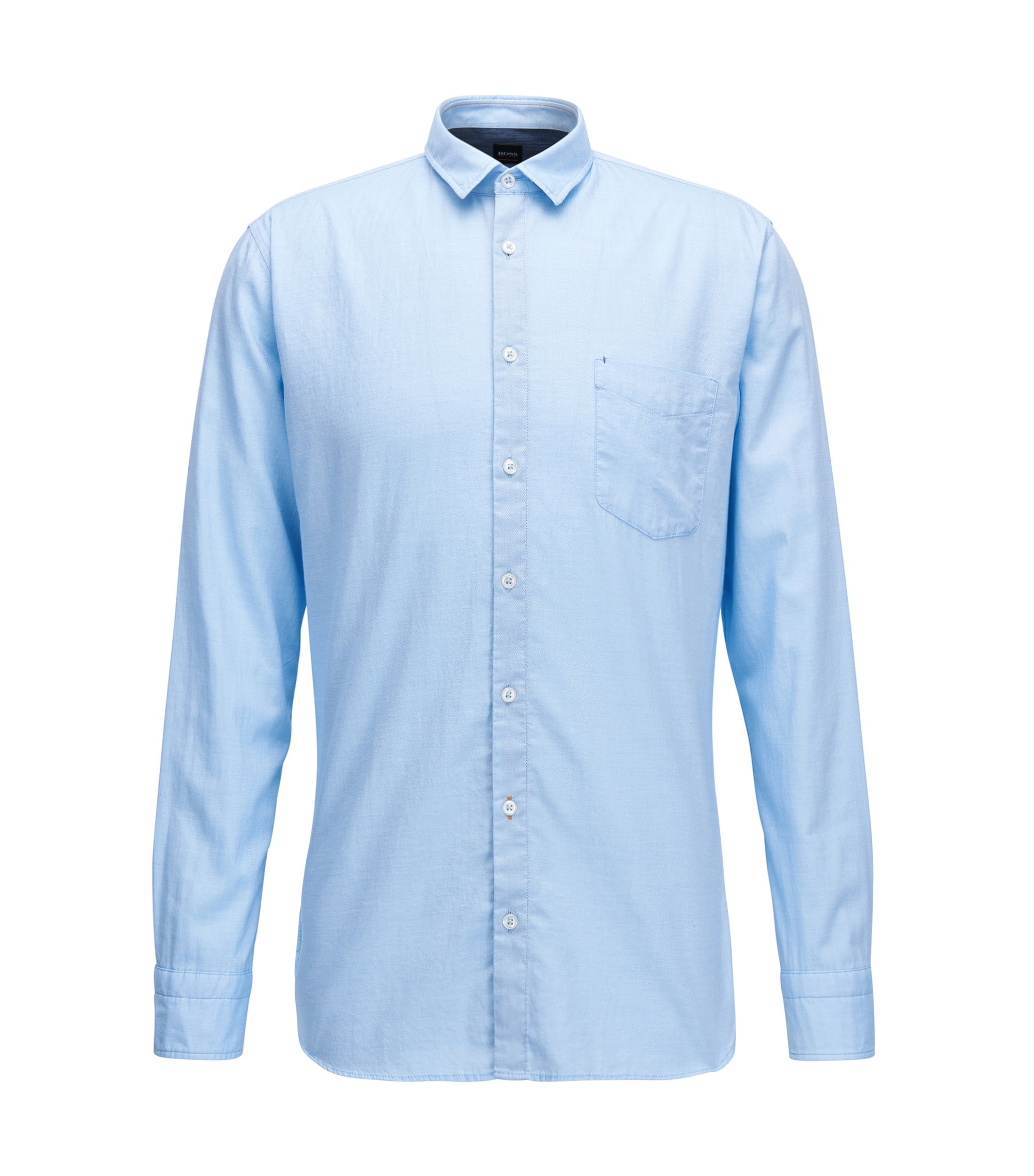 Slim-fit shirt in a mouliné cotton blend, Light Blue