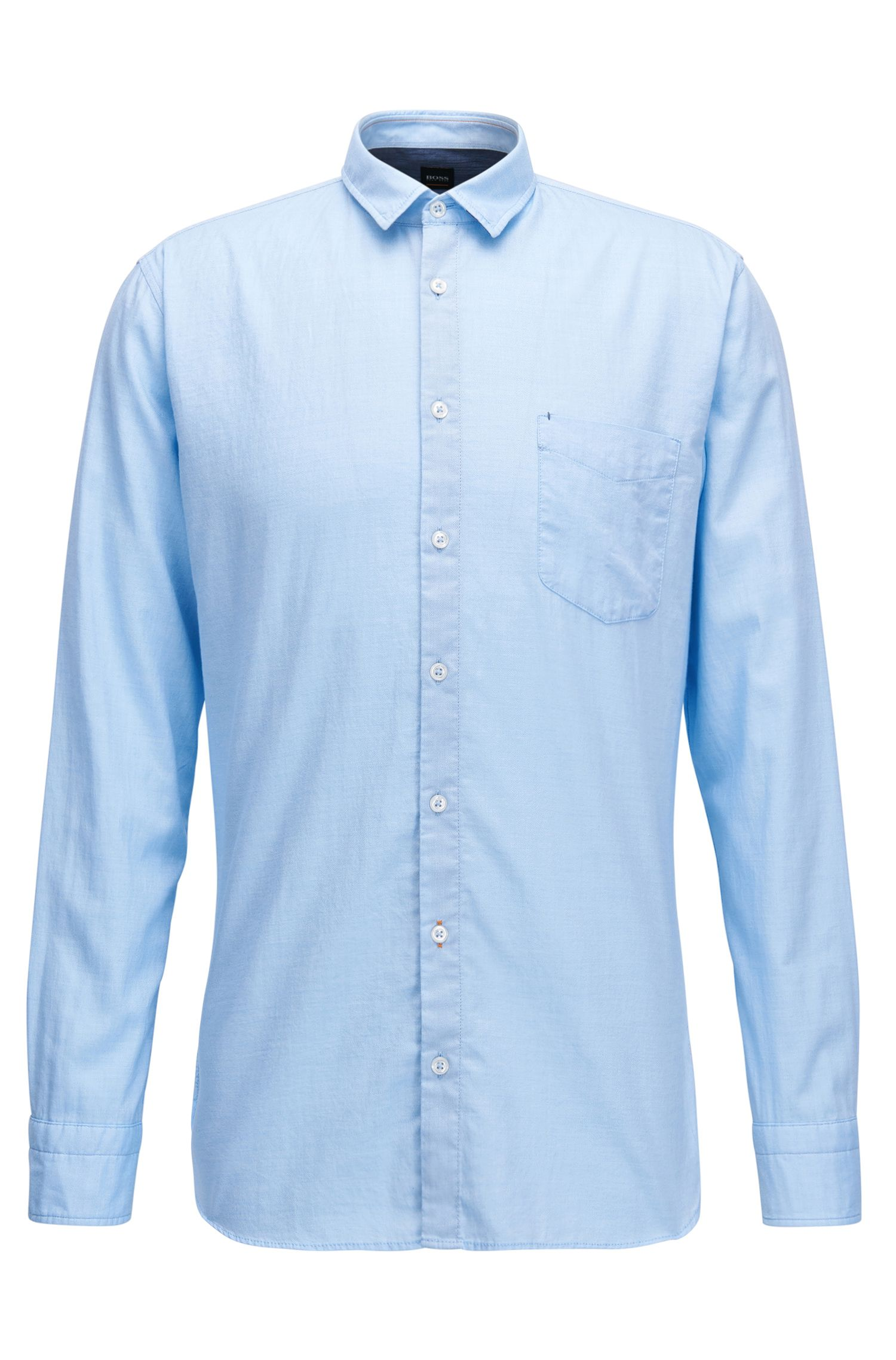 Camicia slim fit in misto cotone mouliné