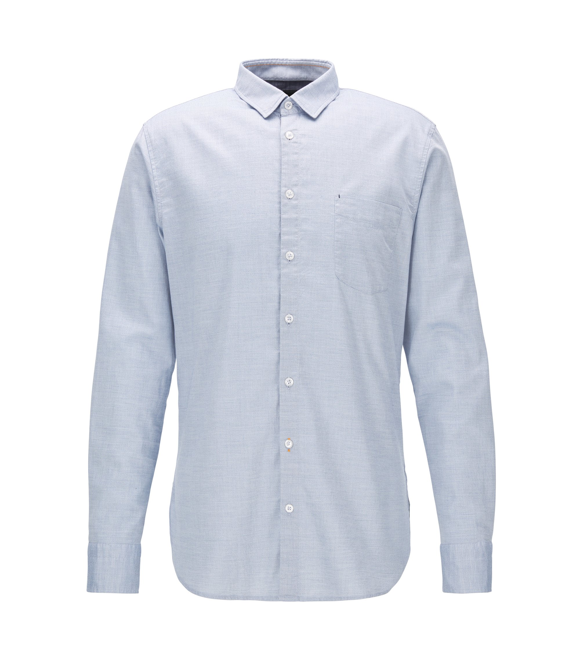 Camicia slim fit in misto cotone mouliné, Blu