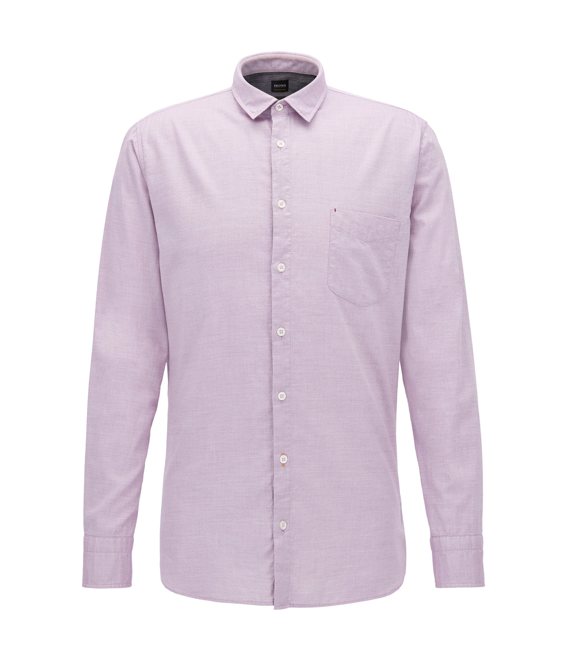 Slim-fit shirt in a mouliné cotton blend, light pink