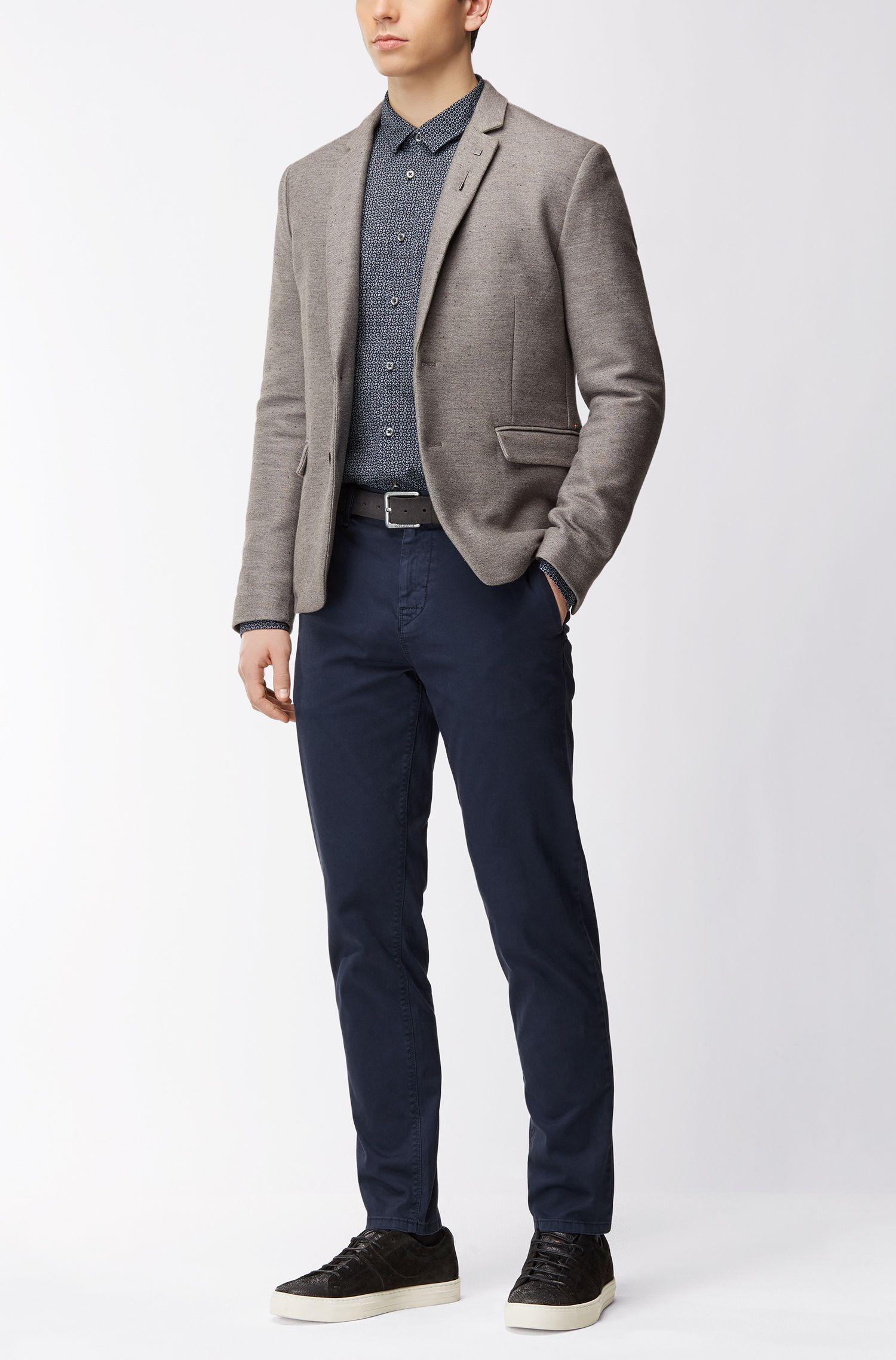 Bedrucktes Slim-Fit Hemd aus Baumwoll-Canvas