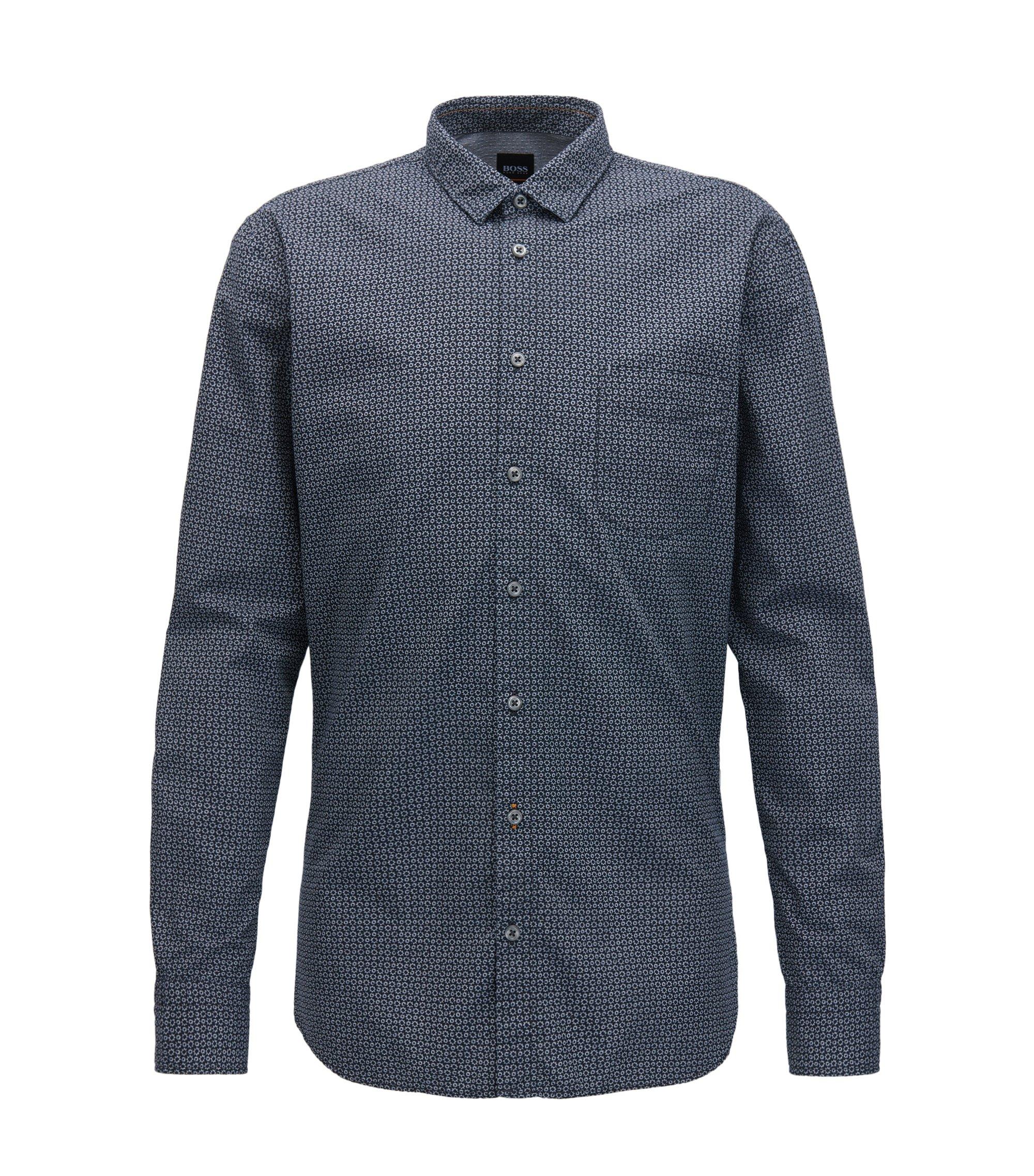 Slim-fit shirt in printed cotton canvas, Dark Blue