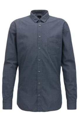 Slim-fit shirt in printed cotton canvas, Dark Blue