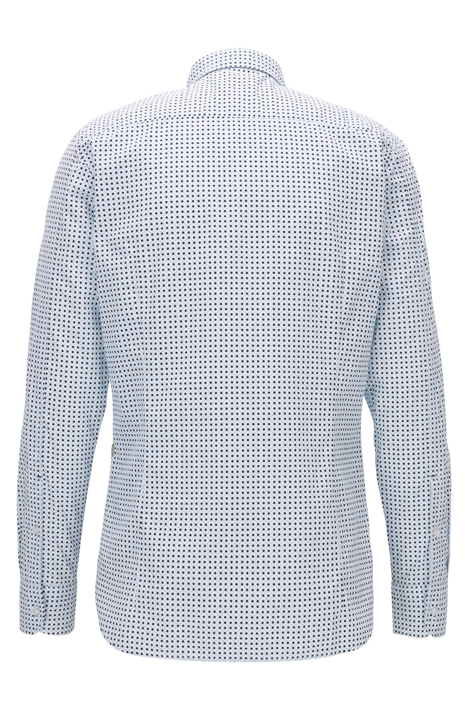 Slim-fit shirt in printed cotton canvas