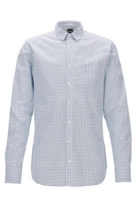 Slim-fit shirt in printed cotton canvas, Patterned