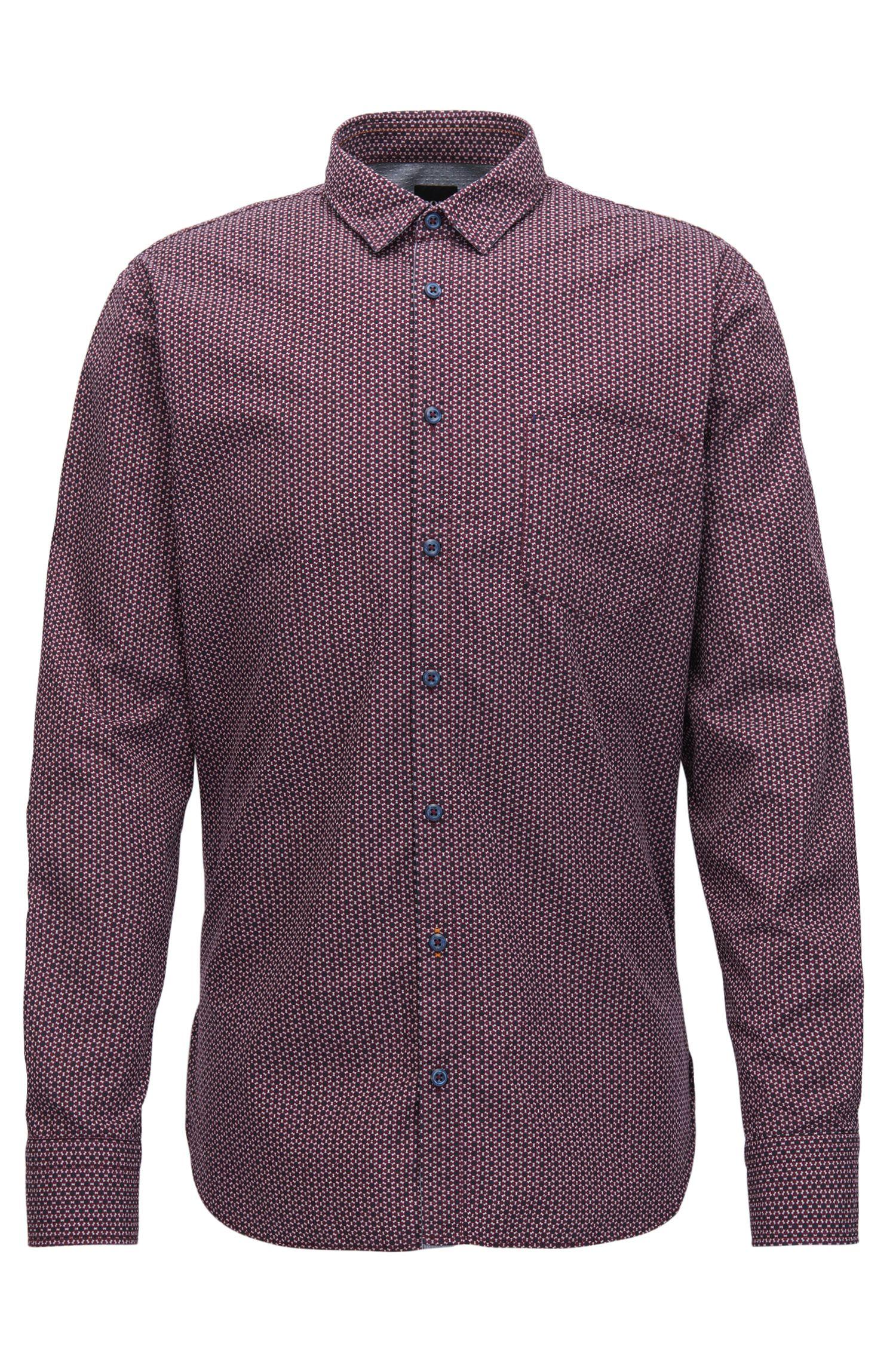 Camisa slim fit en lienzo de algodón estampado