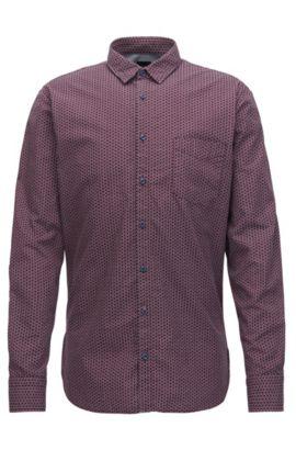 Bedrucktes Slim-Fit Hemd aus Baumwoll-Canvas, Gemustert