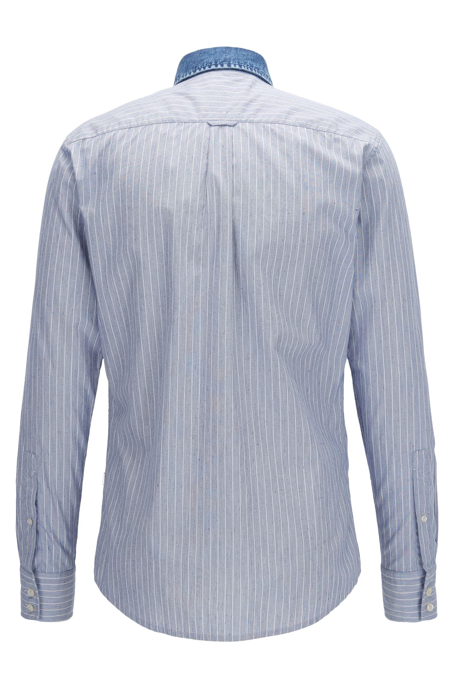 Camicia slim fit a righe in popeline di cotone a nodini