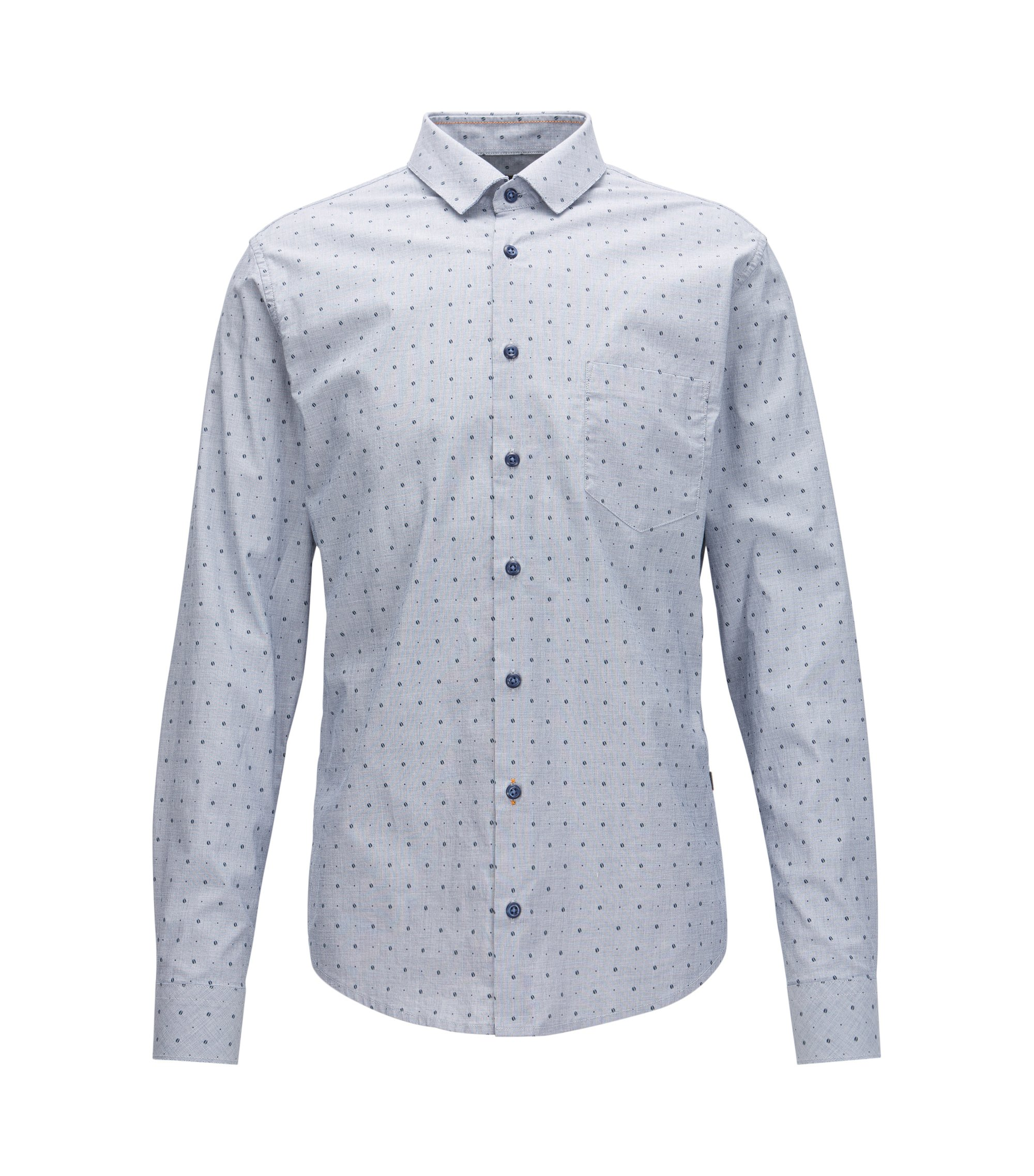 Slim-fit printed shirt in stretch cotton with raw-cut details, Light Blue