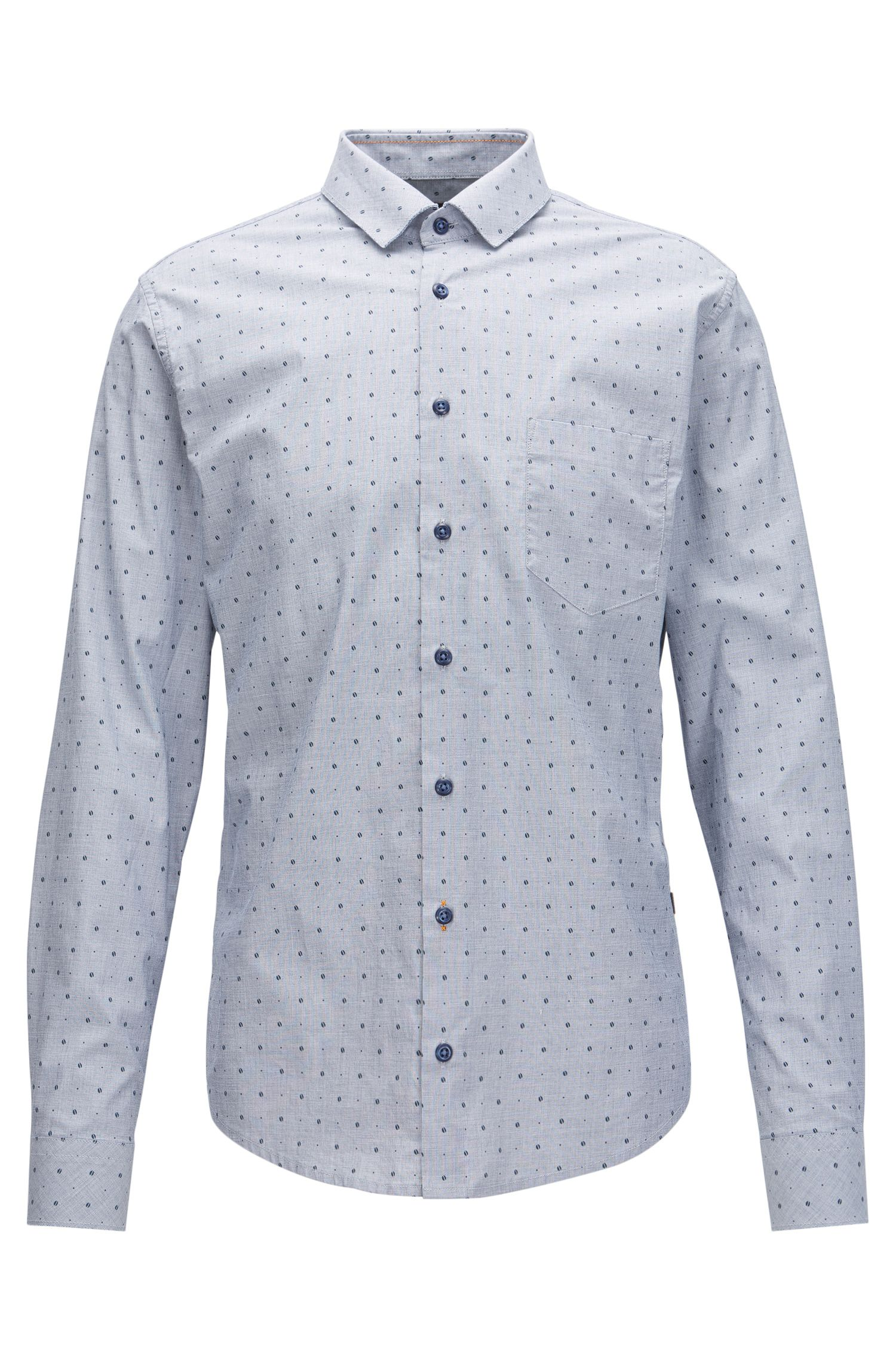 Chemise Slim Fit en coton stretch imprimé, avec bords francs