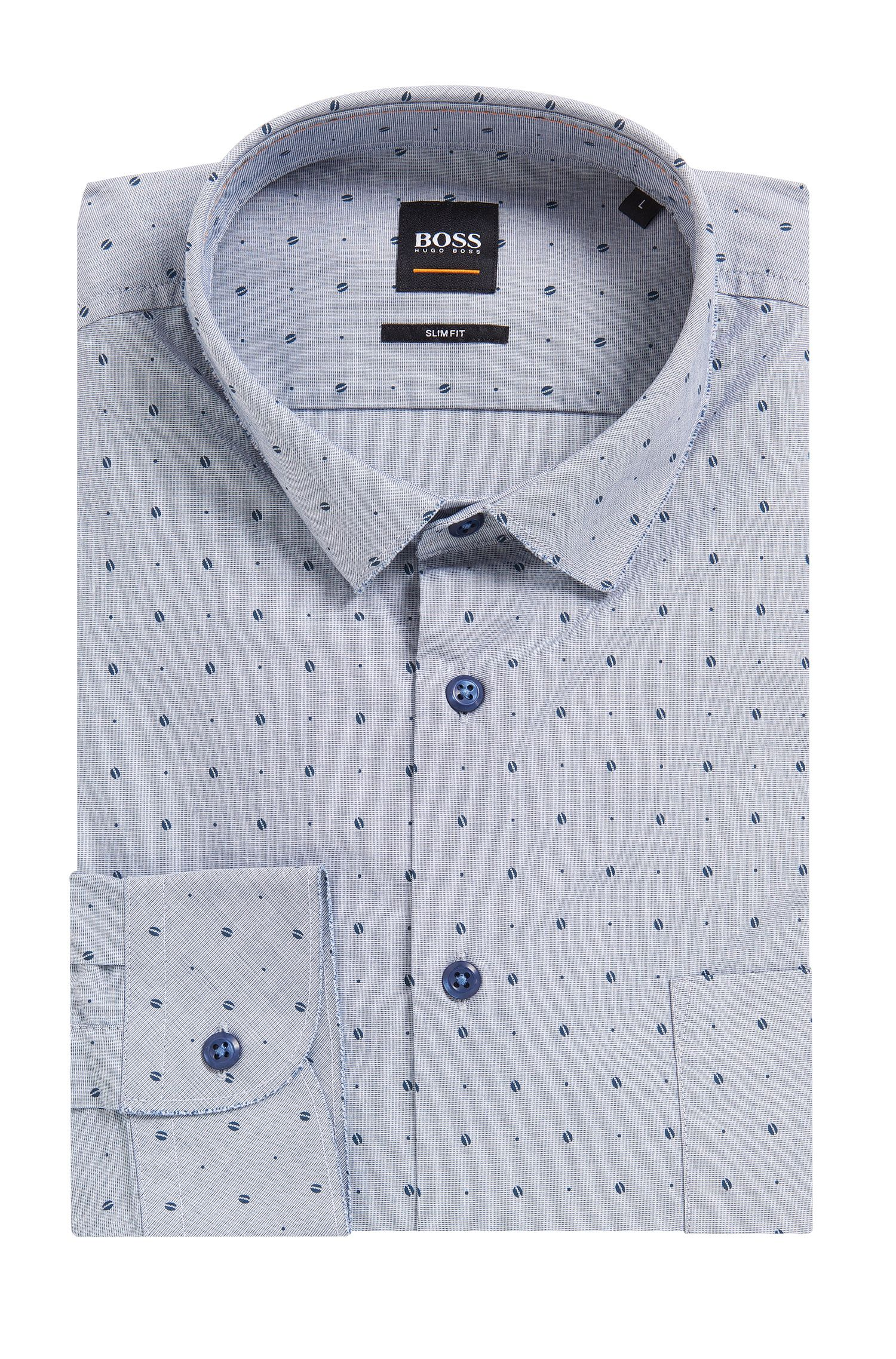 Slim-fit printed shirt in stretch cotton with raw-cut details