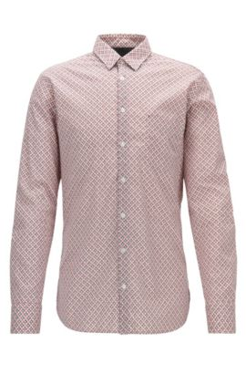 Camisa slim fit en algodón elástico con lavado enzimático , Marrón oscuro