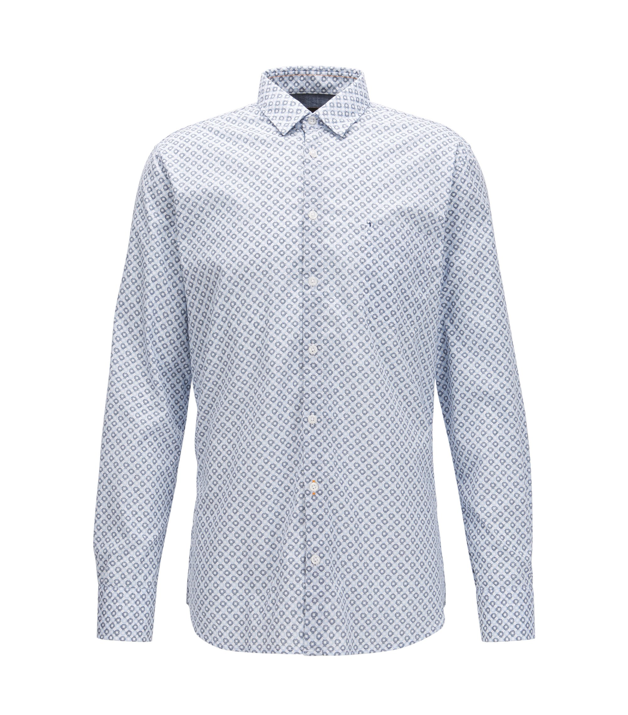Slim-fit shirt in enzyme-washed stretch cotton , Patterned