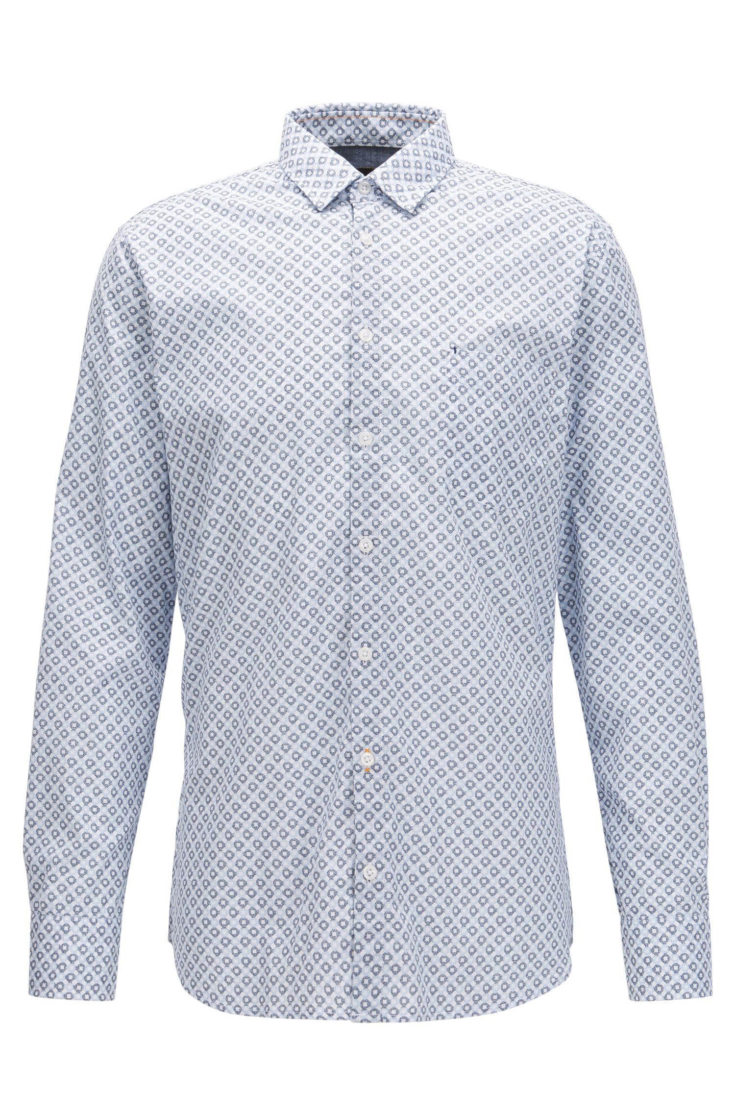 Slim-fit shirt in enzyme-washed stretch cotton