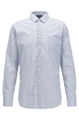 Camisa slim fit en algodón elástico con lavado enzimático , Fantasía
