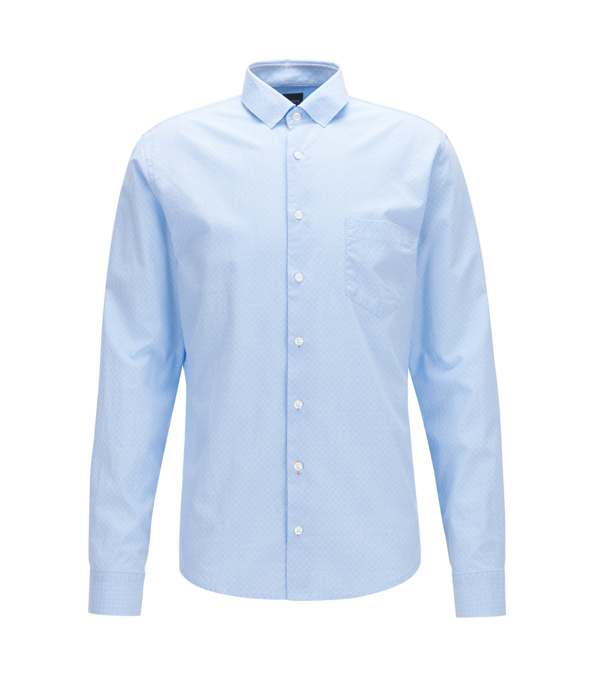 Slim-fit shirt in washed geometrical dobby cotton, Light Blue