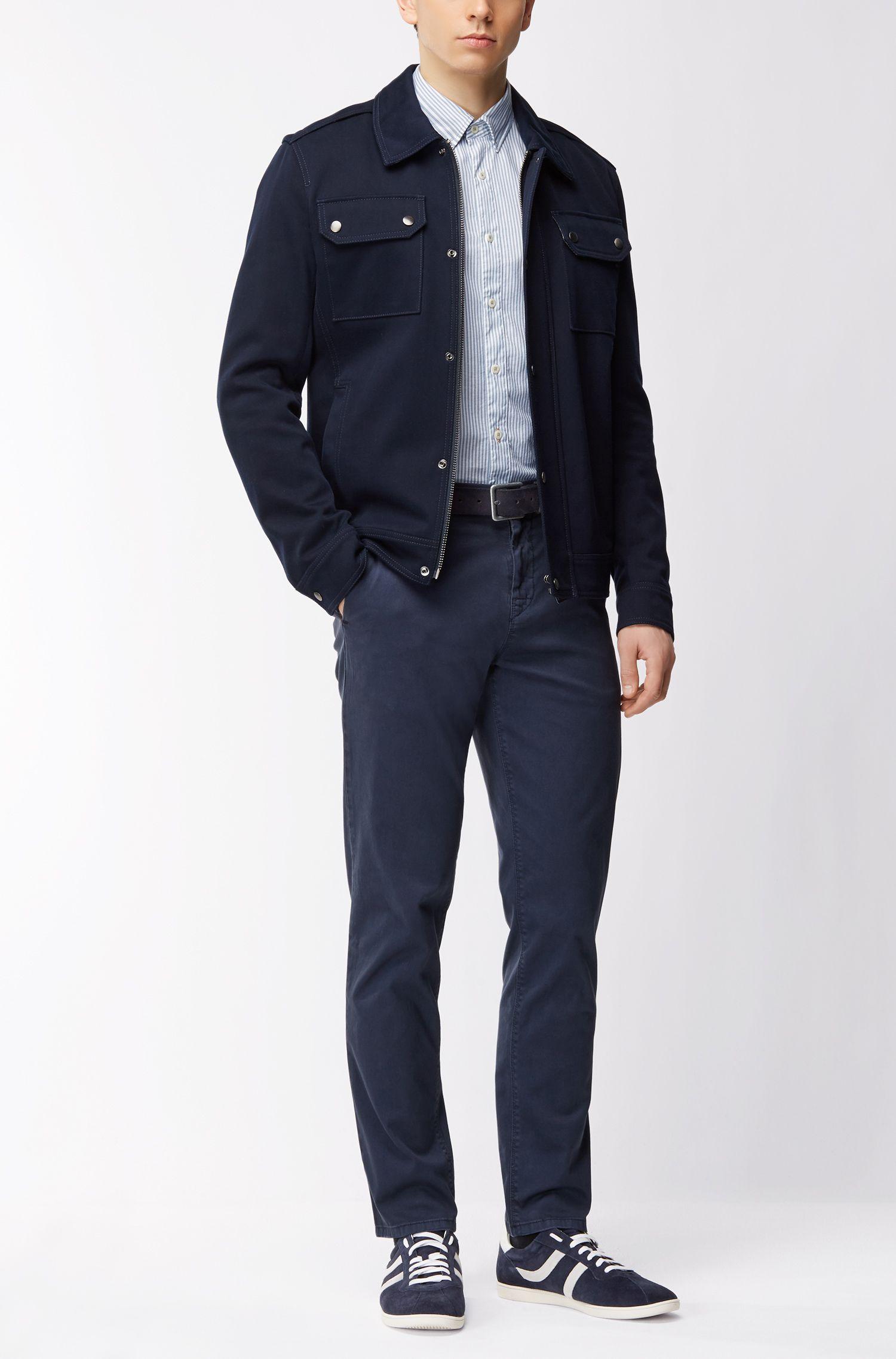 Chemise SlimFit en coton stretch à rayures dobby