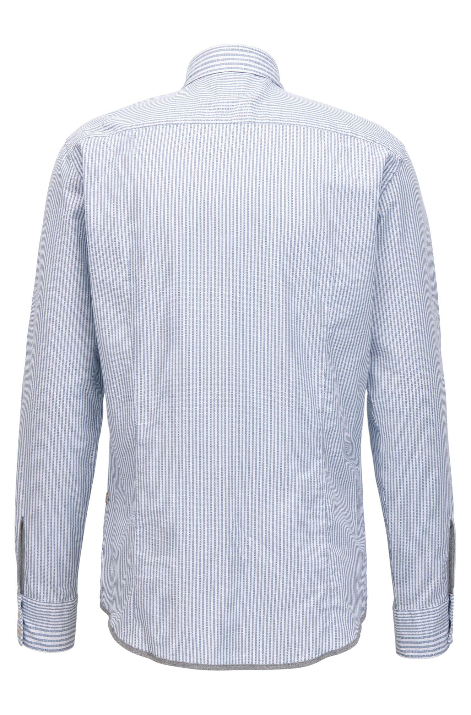 Slim-Fit Hemd aus Stretch-Baumwolle mit Strukturstreifen