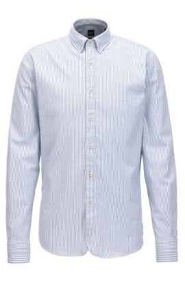 Chemise SlimFit en coton stretch à rayures dobby, Bleu foncé