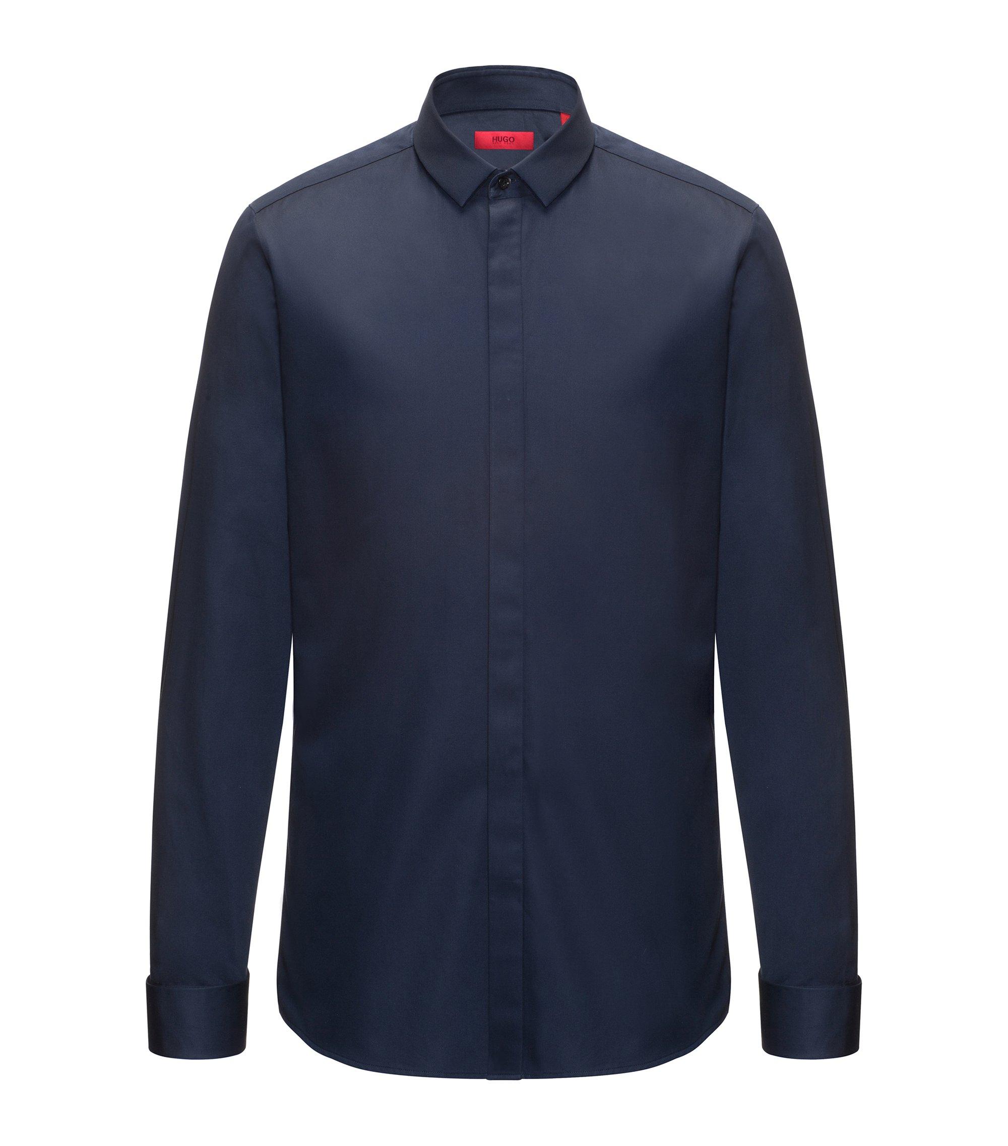 Camicia extra slim fit in cotone effetto satin, Blu scuro