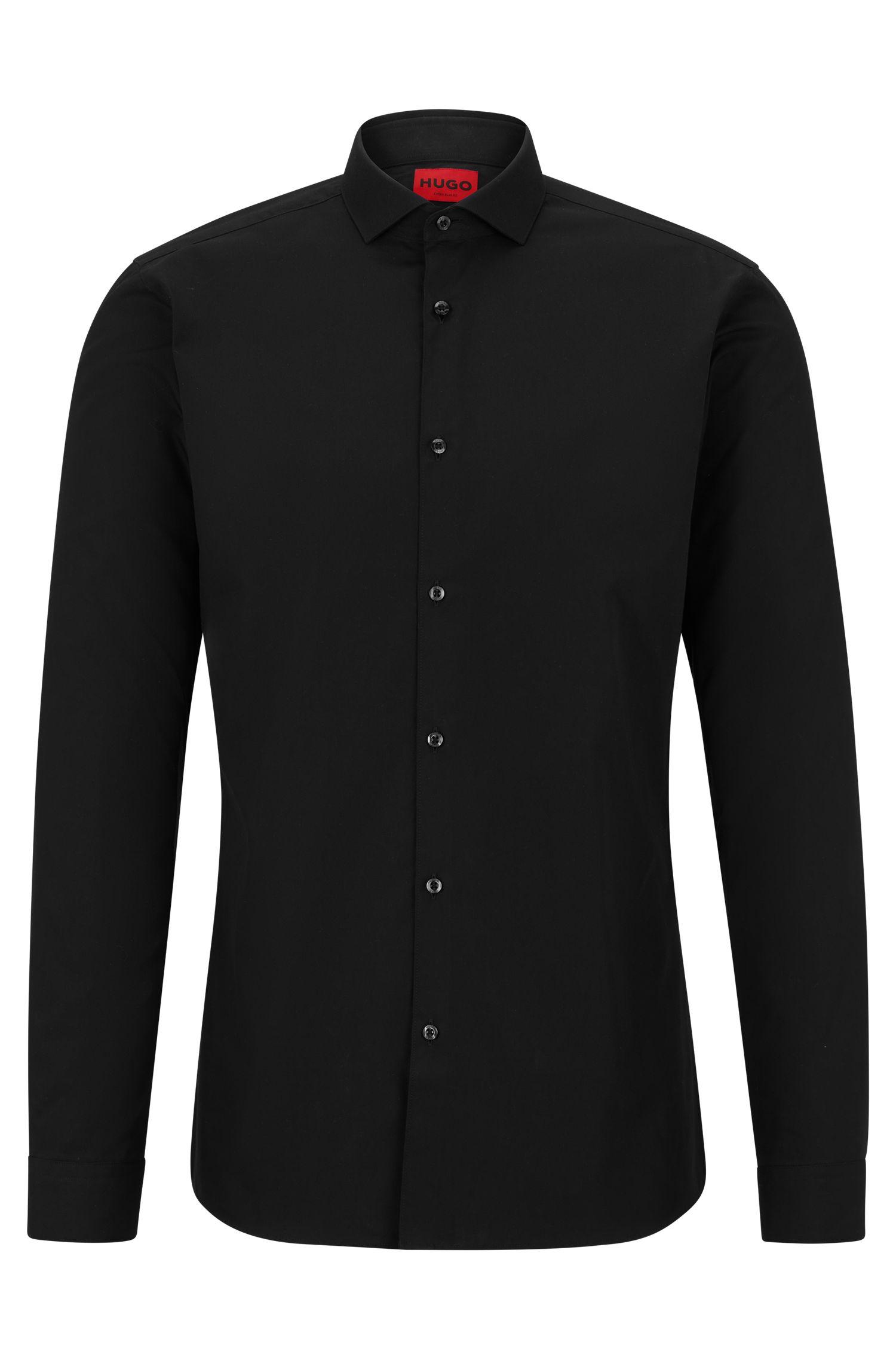 Extra Slim-Fit Hemd aus Baumwoll-Popeline, Schwarz