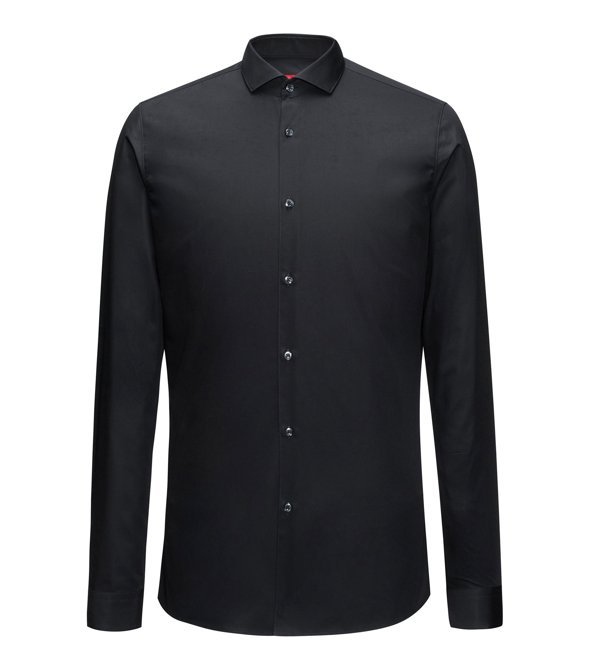 Extra-slim-fit shirt in cotton poplin, Black